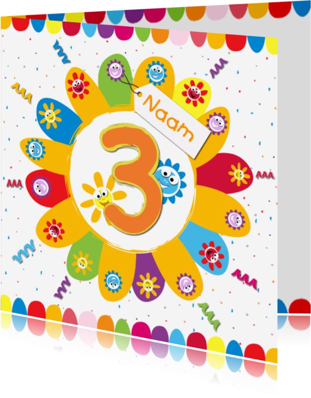 Verjaardagskaarten - zonnebloemen 3 jaar met eigen naam