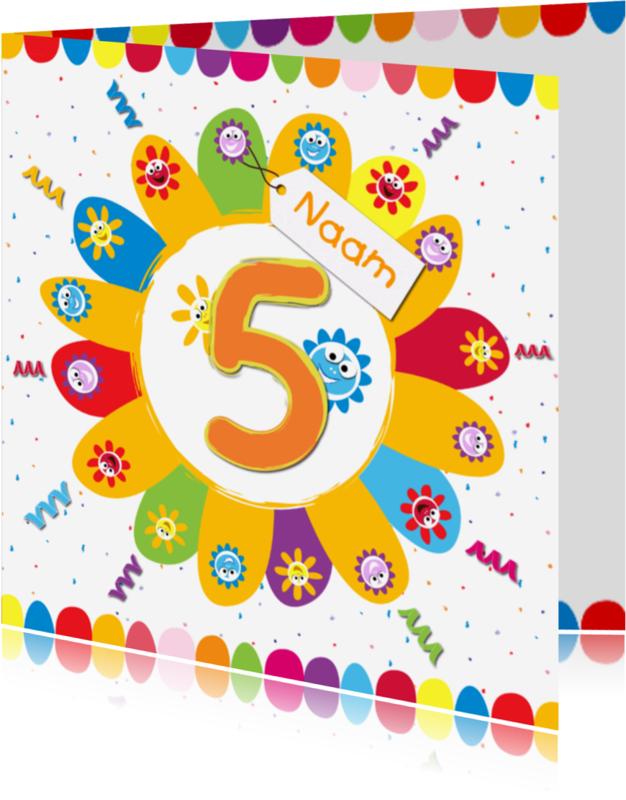Verjaardagskaarten - zonnebloemen 5 jaar met eigen naam