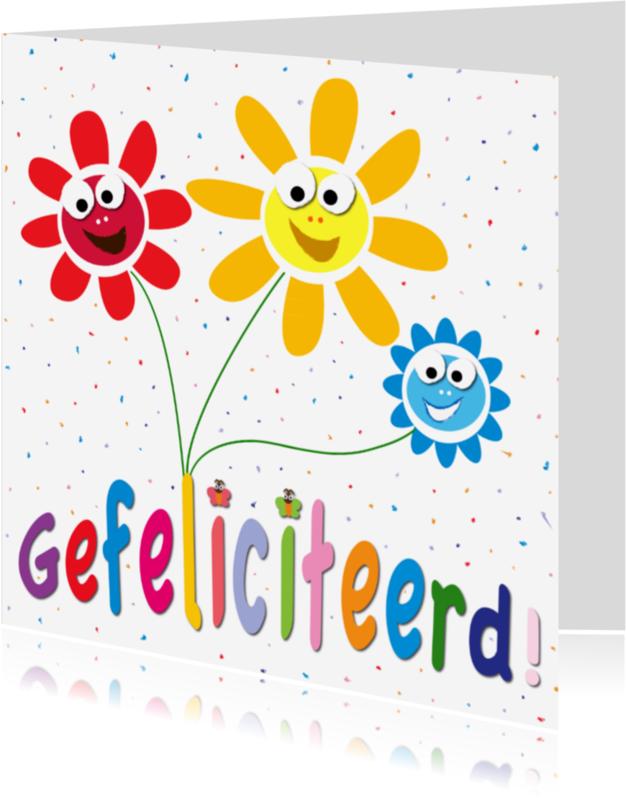 Verjaardagskaarten - zonnebloemen met gezichtjes