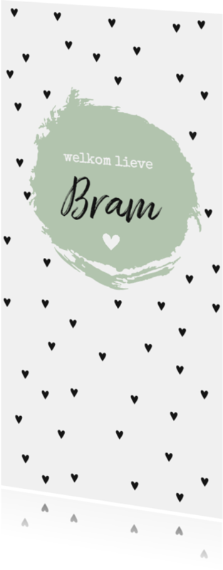 Geboortekaartjes - Zwarte hartjes en groene brush