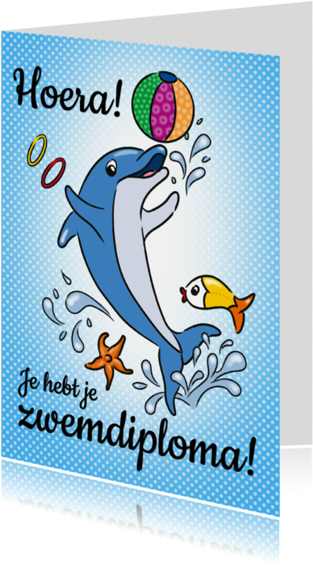 Geslaagd kaarten - zwemdiploma dolfijn